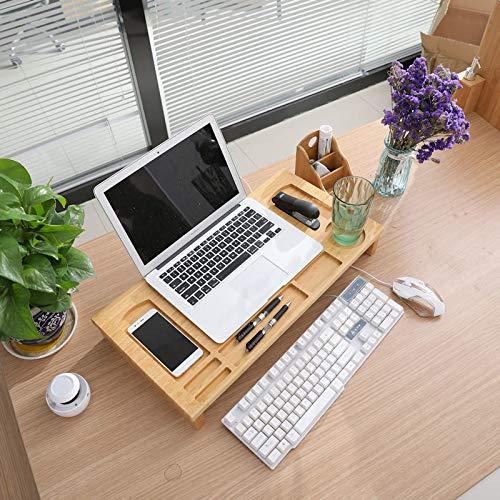 Monitor / Laptop beeldscherm verhoger en bureau organizer - Monitorstandaard van bamboe hout - Monitorstandaarden 2 in 1 - Met vakje voor telefoon, beker en pennenbak - Monitorverhoger bureau standaard van Decopatent®