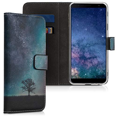 kwmobile Hülle kompatibel mit Samsung Galaxy J4+ / J4 Plus DUOS - Kunstleder Wallet Hülle mit Kartenfächern Stand Galaxie Baum Wiese Blau Grau Schwarz