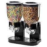 Doppio plastica Dry food Cereal dispenser double canister, Clear canister Fresh Candy titanio chicchi di stoccaggio Black