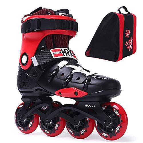 CHHMAELOVE Inliner Inline-Skates, Roller Figure Rollschuh Gr. 36-45 FüR Jugendliche Und Erwachsene, Speed Alu Inline Skates,Lady Inline Skate,Red-40