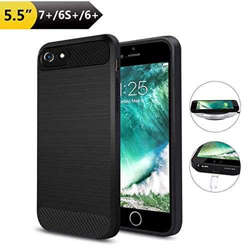 Wireless Charging Case kabellosen Ladeempfänger kompatibel mit iPhone 7 Plus/6 Plus/6S Plus, kein eingebauter Akku, Qi TPU, stoßfest, kabelloses Ladegerät mit Ladeanschluss [kein eingebauter Akku]