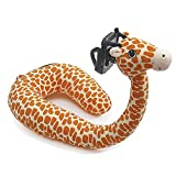 BEL AVENIR Travel Pillow Neck U Shaped Pillow Animal with Cell Phone Stand Holder Support Adjustable 3D Cute Home Airplanes Sleep Pillow (Giraffe)
