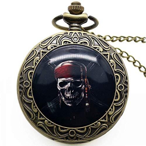 Taschen- und Armbanduhr Taschenuhr Punkschädel-hängender Uhr-Tod Design Taschen-Uhr-Radfahrer-Schädel-Charme-Schmuck Gothic-Art-Quarz-Uhr (Color : Pirate Skull)
