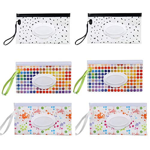 PQZATX 6 Pcs Portable Wet Wipe Pouch Reusable Baby Wipes...