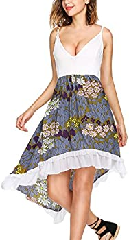 SE MIU Women V-Neck Spaghetti Adjustable Pullover Pleated Dress