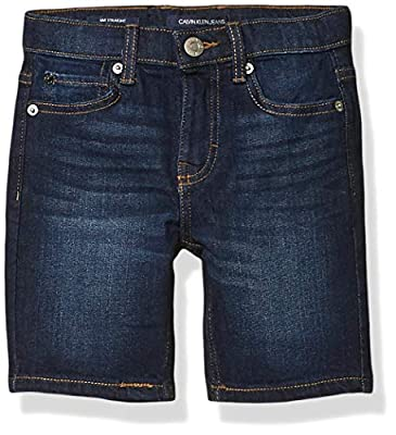 Calvin Klein Boys' Stretch Denim Short, Austin Dark Blue, 8