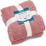 "HBlife Microfiber Luxury Flannel Fleece Blanket Queen Size, Super Soft & Cozy Waffle Weave Pattern Plush Blanket, 90"" x 90"" Pink"