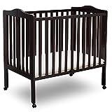 Delta Children Folding Portable Mini Baby Crib with 1.5-inch Mattress, Dark Chocolate