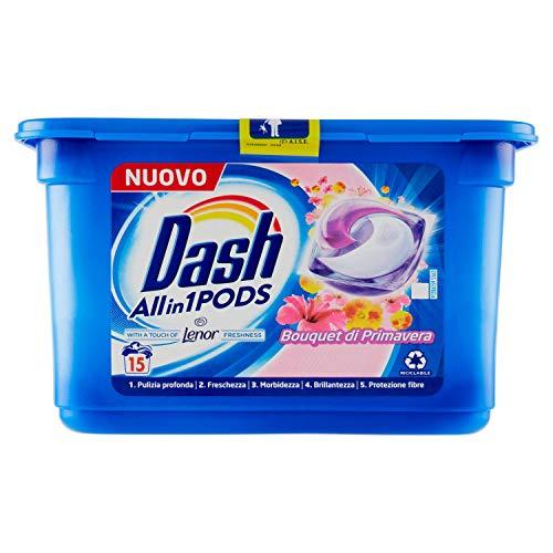Dash All in 1 Pods - Detergente para lavadora en cápsulas (15 lavados), aroma de primavera, elimina las manchas