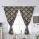 Hiiiman - Cortinas con bolsillo para barra de cortina, diseño oriental, color gris