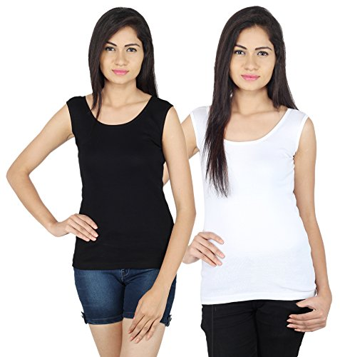 SHREE Combo of Black and white camisole for girls with...