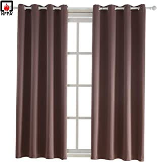 BEGOODTEX Flame Retardant Fire Retardant Curtain Window Blackout Curtains, Brown, 52W by 95L inch, 1 Panel