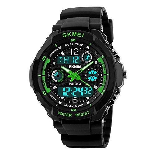 Skmei Top marca deporte Militar reloj de doble pantalla LED 50m resistente al agua analógico de cuarzo reloj de pulsera para hombre