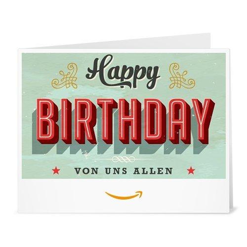 Amazon.de Gutschein zum Drucken (Geburtstag Vintage)