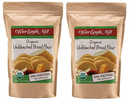 War Eagle Mill Bread Flour, Unbleached, High-protein, Organic and non-GMO - 5 lb. bag - Pack of 2 bags