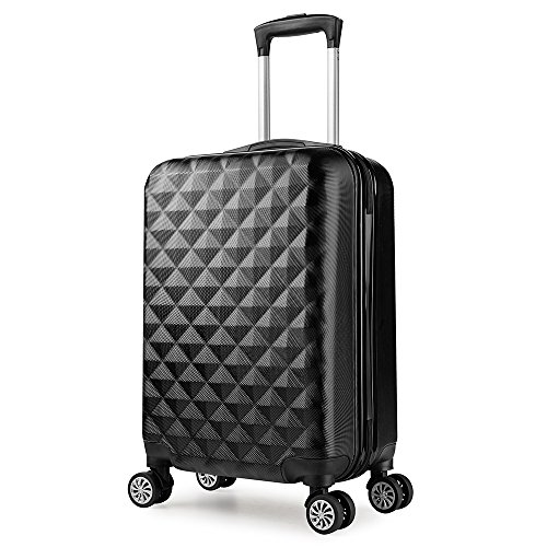 PARTYPRINCE Maleta cabina 56 cm rígida policarbonato abs diamante equipaje rigida con ruedas Negro