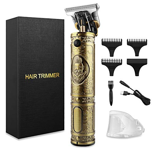 Haarschneidemaschine Für Männer,Elektrischer Profi Trimmer Grooming Wiederaufladbarer USB Wiederaufladbar Schnurloser Elektrischer Friseursalon T-Blade Trimmer kabelloser T-Klingen-Trimmer (Golden)