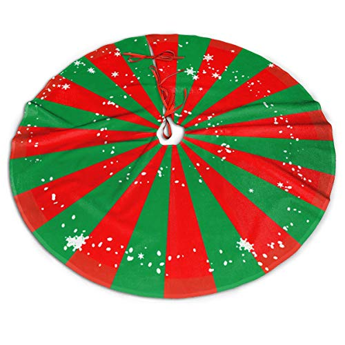 MSGUIDE 48 Inch Christmas Tree Skirt Red and Green Striped Wheel Floor Mat Cover Polyester Tree Mat for Home Xmas Party Holiday Decoration