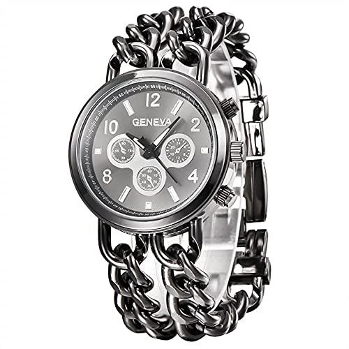 xy 2020 Relojes de la Vendimia Relojes de la Moda Relojes de Mujer Pulsera de Acero Inoxidable Cristal Analog Dial Reloj de Pulsera Regalos 30p (Color : Black)
