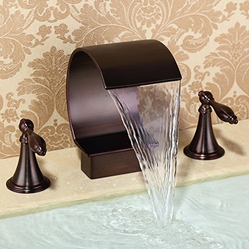 Waterfall Oil-rubbed Bronze Sink Faucet High Arc Faucet Bathtub Faucet Waterfall Spout Tub Filler Faucet Two Handles Three Holes