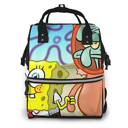 Wickeltasche Rucksack - Thaddäus Tentakeln mit Spongebob Multifunktion Wasserdichter Reiserucksack Mutterschaft Baby Windel Wickeltaschen