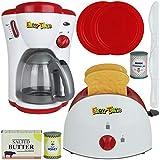 TW4 Spielzeug Toaster und Kaffeemaschine Frühstücks Set Licht Küchenzubehör Spiel Küche Zubehör Küchenspielzeug Spielküche