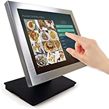 Angel POS Silver Metal Frame 15-inch Touch Screen POS TFT LCD Touchscreen Monitor with Adjustable POS Stand for Retail Res...