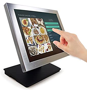Angel POS Silver Metal Frame 15-inch Touch Screen POS TFT LCD Touchscreen Monitor with Adjustable POS Stand for Retail Restaurant Bar Pub Kiosk