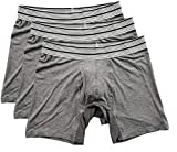Mr. Davis Men's Bamboo Viscose Standard Cut Boxer Brief Underwear Grey Size Large 3 Pack