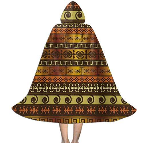 Capa con Capucha Primitivo Indgena Geomtrico Tradicional Disfraz De Fiesta Interesante Capa para Nios De Moda Disfraz Halloween para Adultos Fiesta 150X40Cm