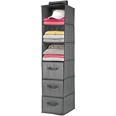 mDesign étagère suspendue avec 3 compartiments et 3 tiroirs – rangement à suspendre en tissus fibre synthétique – meuble de rangement idéal pour les vêtements – gris foncé