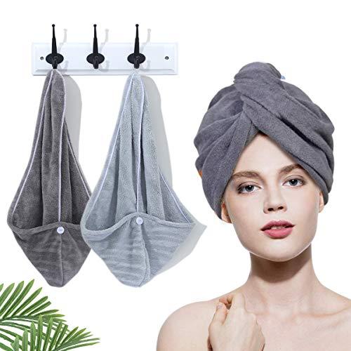 2 Toallas para Secar el Pelo, Toalla Turbante para el Pelo, diademas de toalla súper absorbente de microfibra súper absorbente, las toallas de pelo largo se pueden secar rápidamente