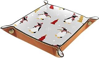 BestIdeas Panier de rangement carré 20,5 × 20,5 cm, avec pingouins de vacances d'hiver, boîte de rangement sur table pour ...