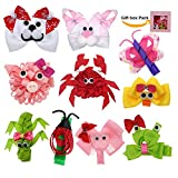 Small Sculpture Hair Bows Clip Barrette for Girls Kids Hairbows 10 Pack