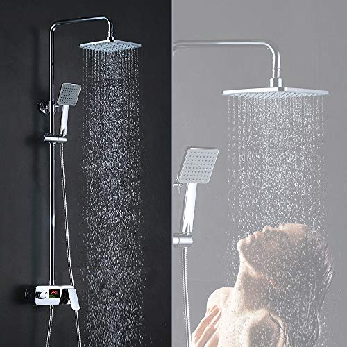 Homelody Duschsystem mit LCD Temperatur-Anzeige Duschset Regendusche Handbrause und Duschkopf Duschstange Duscharmatur f. Bad