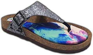 Colour Me Mad Grey Glitter, Natural Cork, Washable, All Weather, Vegan, Made in India, PETA Certified, Women Sandals