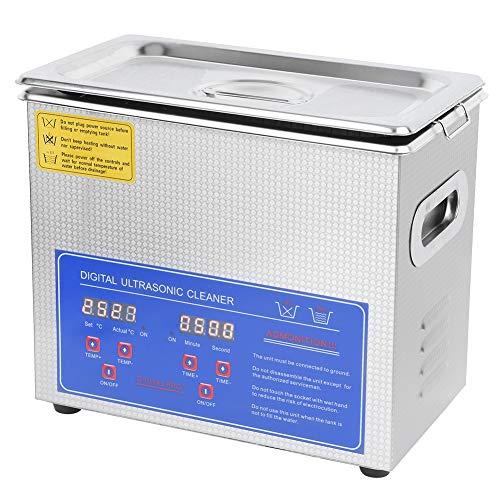 Baño ultrasonido, limpiador ultrasónico limpiador digital pantalla limpiador limpiador limpiador dispositivo limpiador con temporizador de calefacción para prótesis, gafas, joyería, relojes, (3L)