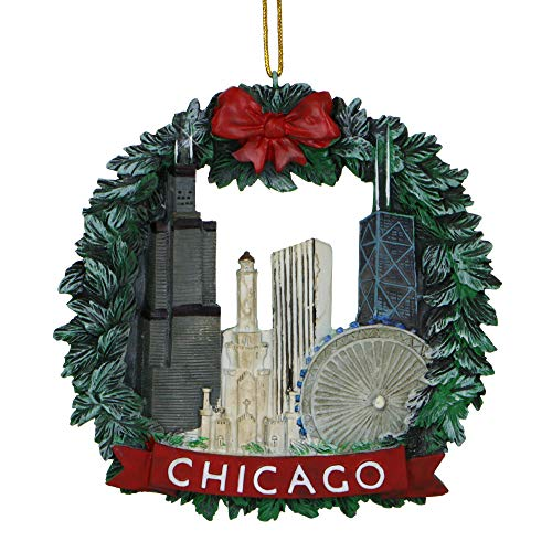 Chicago Christmas Ornament 4 Inch Wreath and Chicago Skyline