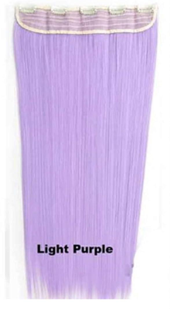 軽蔑する倫理風刺Koloeplf 合成ヘアエクステンションヘアカラーグラデーションウィッグピースで5クリップロングストレートヘアピース60cm (Color : Light purple)