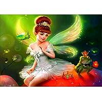 QMGLBG 5Dダイヤモンド塗装 美容妖精とカエルの王子様ダイヤモンド塗装ラインストーン工芸家の壁の装飾30*40cm