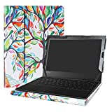 Alapmk Diseñado Especialmente La Funda Protectora de Cuero de PU para 11.6' Lenovo 500e Chromebook 2nd Gen & 300e Chromebook 2nd Gen & 100e Chromebook 2nd Gen Laptop,Love Tree