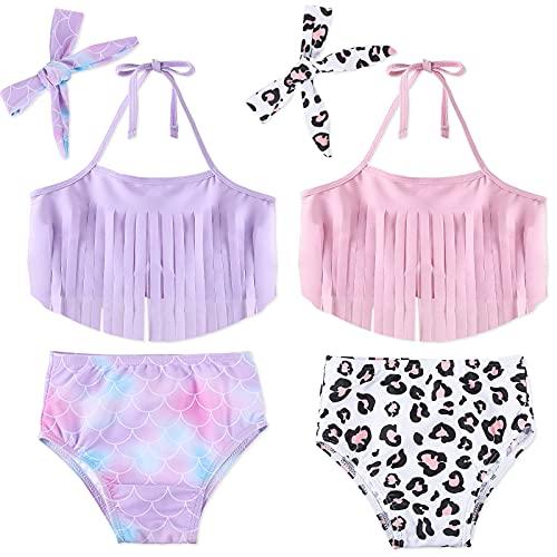 2 Sets Traje de Baño de Bikini Estampado de Sirena y Leopardo (18-24 años)