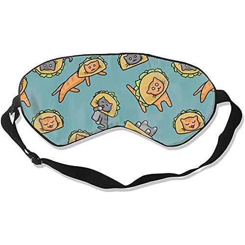 Slaapmasker, katten in taco hoeden stijlvolle kleurrijke oogstrips voor nacht en reizen