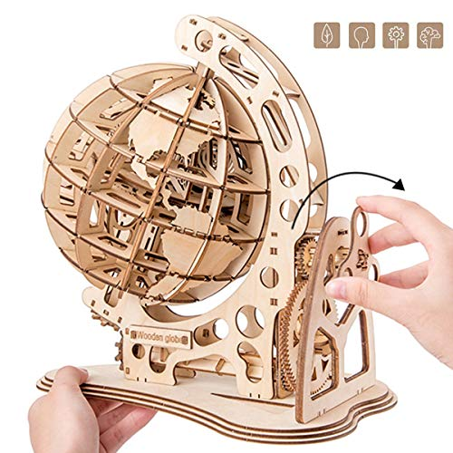 SKAJOWID 3D Globe Wooden Puzzle, Exquisite Furniture Decoration, DIY Creative Wood Craft Toy Simulation Ornaments Mechanical Assembled Gear Model Christmas Birthday Gifts, Valentine's Day Present