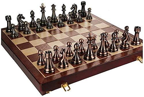 GXY Schach-Set-Spiele Reisebranchen Massivholzschach-Set, Retro-Stil-Metallbronze-Stücke, Klappschachbrett Für Erwachsene Und Kindergeschenke Und Brettspiele,50 * 50 Cm.