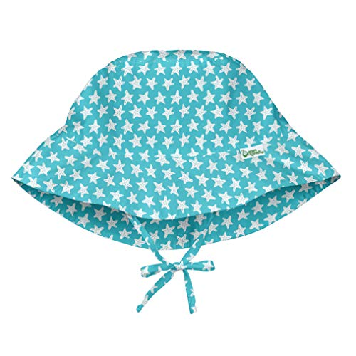 i play. by green sprouts unisex-baby Bucket Sun Protection Hat,Light Aqua Starfish Geo,0/6mo