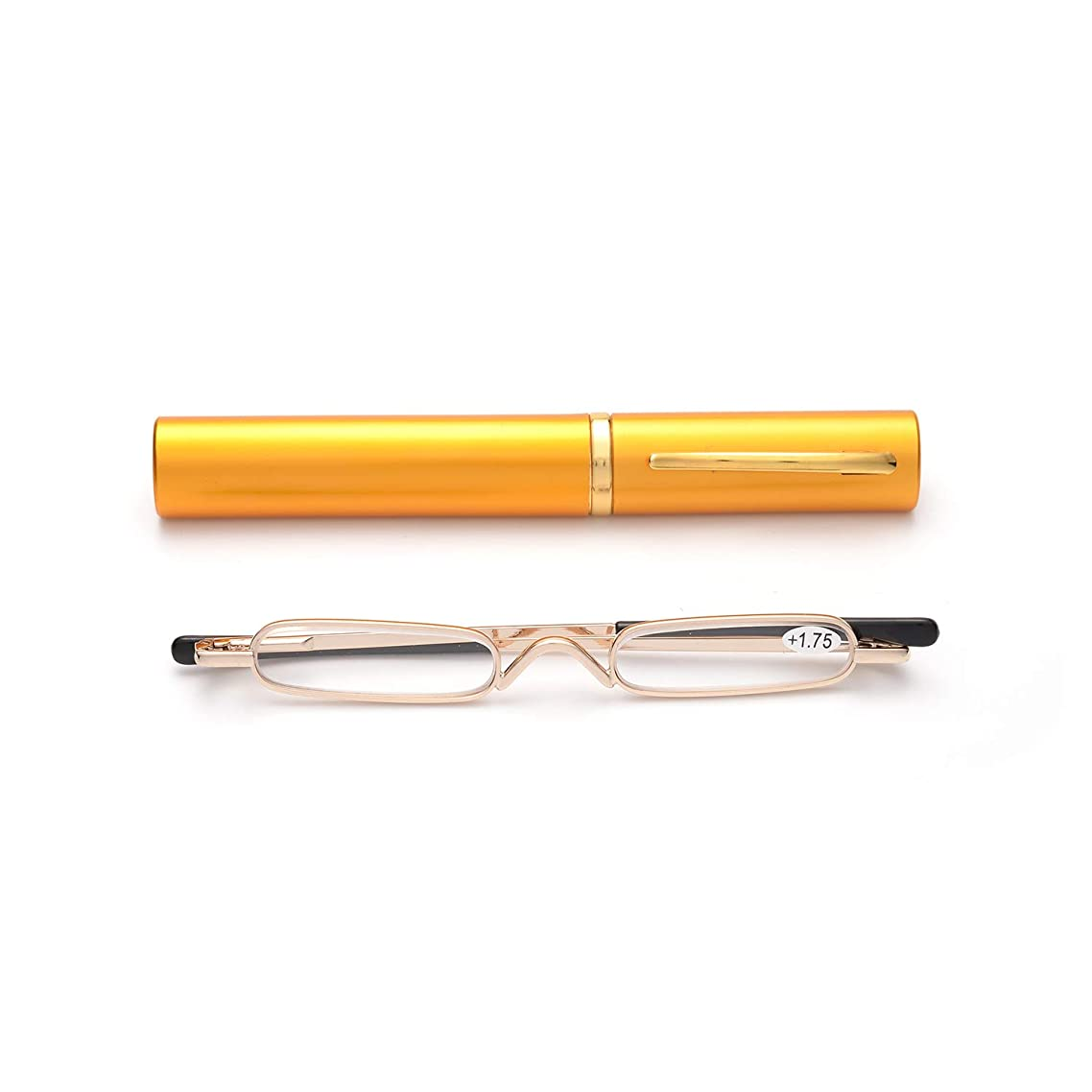Easy Carry Mini Compact Slim Reading Glasses—Lightweight Portable Readers with w/Pen Clip Tube Case