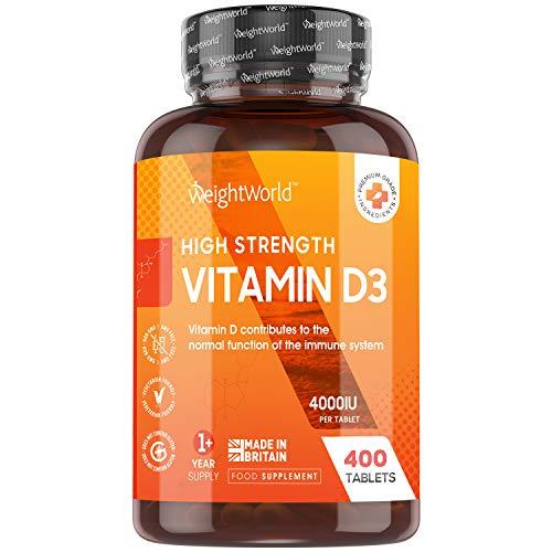 Vitamina D3 4000 UI Dosis Alta - 400 Días de Suministro, Vitamina D Colecalciferol Vegetariano Contribuye a la Función Normal del Sistema Inmunológico, Para los Músculos y Huesos, 400 Comprimidos
