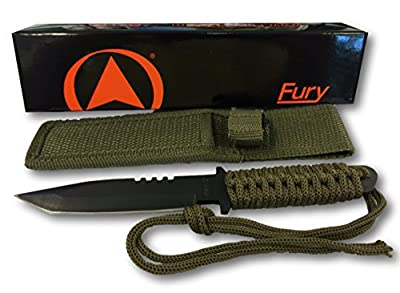 Fury Glacier Bay Black Tanto Fixed Blade Knife with Paracord Wrapped Handle and OD Nylon Sheath from Fury