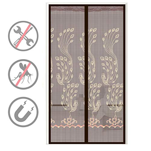 Magnetic Screen Door Screen Doors French Door Screen Magnetic Closure Door Net Reinforced Fiberglass Mesh Curtain Front Door Screen Hands Free Screen Door Doorway 38x82 Inches
